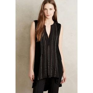 New Deletta Shimmered Eve Tunic Top Size S Black